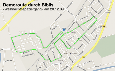 Route durch Biblis am 20.